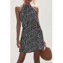 Fancy Women's A-Line Dress Ditsy Floral Pattern Cold Shoulder Halter Neck Banded Waist A-Line Dress