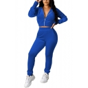 Casual Womens Co-ords Solid Color Banded Cuffs Long Sleeves Regular Fitted Drawstring Hooded Sweatshirt with High Waist Pocket Long Pants