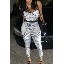 Vintage Womens Jumpsuit Tie Dye Cut-out Waist Sleeveless Spaghetti Strap Slim Fitted Jumpsuit