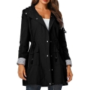 Drawstring Waist Waterproof Zip Closure Hooded Long Trench Coat with Pockets