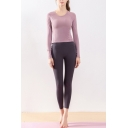 Cozy Women's Set Solid Color Round Neck Long-sleeved Fitted Tee Top with Pants Active Co-ords