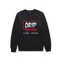 Fashionable Women's Sweatshirt Letter Drip Like Jesus Pattern Crew Neck Long-sleeved Regular Fitted Sweatshirt