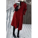 Stylish Womens Woolen Coat Solid Color Plate Button Flap Pockets Detail Turn-down Collar Long-sleeved Regular Fitted Woolen Coat