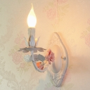 Metal Candle Wall Light Fixture Countryside 1 Head Living Room Wall Mount Lamp with Ceramic Rose Decor in Pink/Blue