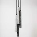 Slim Tube Snack Bar Pendant Lighting Modern Terrazzo Black/White LED Hanging Lamp, 10