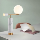 Smoking Pipe Inspired Night Light Designer Marble 1 Head Black/White Table Lamp with Orb Milk Glass Shade