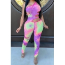 Retro Women's Jumpsuit Tie Dye Pattern Hollow out One Shoulder Slim Fitted Sleeveless Jumpsuit