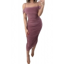 Trendy Womens Bodycon Dress Solid Color Ruched Design Rolled Hem Strapped Square Neck Sleeveless Slim Fitted Midi Bodycon Dress