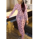 Unique Womens Jumpsuit Floral Pattern Mock Neck Skinny Fitted Long Sleeve Jumpsuit