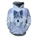 White 3D Winter Wolf Printed Long Sleeve Unisex Loose Fitted Drawstring Hoodie