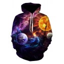 Popular Fashion Galaxy Planet 3D Printed Long Sleeve Loose Fit Casual Purple Hoodie