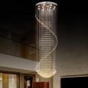 Cascading Crystal Drape Ceiling Flush Contemporary 13 Heads Living Room Flush-Mount Lighting in Stainless Steel
