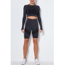 Fancy Womens Running Set Contrast Panel Heathered Crew Neck Long Sleeves Slim Fitted Tee Top with High Waist Shorts Co-ords