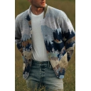 Vintage Mens Jacket Bird Forest Print Button Detail Long Sleeve Turn-down Collar Regular Fit Casual Jacket with Chest Pocket