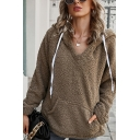 Thick Warm Hoodie Solid Color Drawstring Faux Fur Front Pocket Long Sleeves Relaxed Fit Hooded Sweatshirt for Women