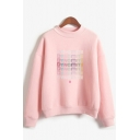 Casual Letter Dynamite Print Mock Neck Long Sleeve Relaxed Fit Pullover Sweatshirt