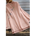 Vintage Women's Knit Top Floral Embroidered Button Detail Stand Collar Long-sleeved Regular Fitted Sweater