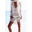 Stylish Women's Swing Dress Crocheted Lace Solid Color Hollow out V Neck Long-sleeved Swing Dress