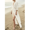 Retro Womens Jacket Solid Color Tie Waist High Split-Side Open Front Loose Fitted Long Sleeve Longer Length Cover-up Beach Jacket