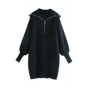 Unique Womens Dress Solid Color Zipper Collar Short Loose Fitted Long Bishop Sleeve Knitted Dress