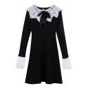 Womens Dress Stylish Color Block Patchwork Tie Detail Midi Slim Fitted Doll Collar Long Sleeve A-Line Knitted Dress