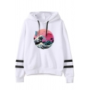 Creative Womens Hoodie Wave Sun Tree Seagull Arm-Stripe Pattern Drawstring Long Sleeve Relaxed Fitted Hooded Sweatshirt