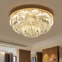 Double-Layered Close to Ceiling Lamp Contemporary Clear Crystal Block 8 Bulbs Parlor Flush Mount Fixture