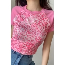 Fancy Women's T-Shirt Patchwork Leopard Print Sweetheart Embroidery Ribbed Hem Round Neck Short-sleeved Regular Fitted Tee Top