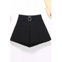 Womens Shorts Fashionable Plain Round-Buckle Detail Stretch Invisible Zipper A-Line High Waist Regular Fitted Relaxed Shorts
