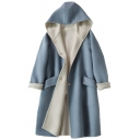 Womens Coat Stylish Pockets Double-Sided Woollen Button down Mid-Length Loose Fit Long Sleeve Hooded Wool Coat