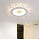 White Scalloped Flush-Mount Light Fixture Modern 8