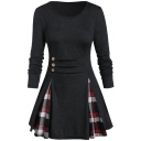 Classic Womens Dress Plaid-Patchwork Button Decoration Short A-Line Slim Fitted Round Neck Long Sleeve Swing Dress