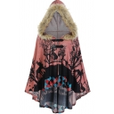 Vintage Womens Coat Tree Horse Geometric Print High-Low Hem Buckle Decorated Fur-Lined Hood Loose Fitted Batwing Poncho