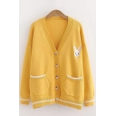 Basic Womens Cardigan Rabbit Pattern Contrast Stripe Trim Front Double-Pocket Button down Loose Fit V Neck Long Sleeve Cardigan