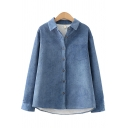 Winter Warm Shirt Solid Color Corduroy Plushed Fur Chest Pocket Button Closure Turn-down Collar Long Sleeves Regular Fitted Shirt for Women