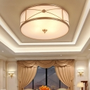 Brass Small/Large Drum Ceiling Lamp Minimalist Frosted Glass 3/4 Lights Living Room Flush Mount with/without X Brace