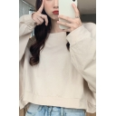 Leisure Women's Sweatshirt Solid Color Crew Neck Long Sleeves Cropped Relaxed Fit Sweatshirt