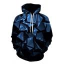 3D Geometric Pattern Long Sleeves Drawstring Hood Loose Fit Color-Block Pullover Hoodie