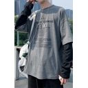 Mens Popular Fashion Letter Printed Fake Two Piece Long Sleeve Round Neck Casual Loose Grey Pullover Sweatshirt