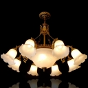 11-Light Cream Glass Hanging Lamp Rustic Bronze Bellflower Restaurant Ceiling Chandelier