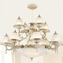 15-Light Tiered Carillon Chandelier Vintage White Milky Frosted Glass Suspended Lighting Fixture with Trim