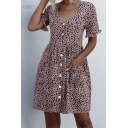 Fancy Womens A-Line Dress Lettuce Trim Leopard Print Button-down Front Pockets Pleated Scoop Neck Short Sleeves Regular Fitted Womens A-Line Dress