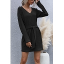 Fancy Women's Sweater Dress Solid Color Rib Knitted Tie Front V Neck Long Sleeves Fitted Short Sweater Dress
