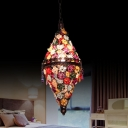 Stained Glass Copper Pendant Lamp Conical Single-Bulb Bohemia Ceiling Hang Light