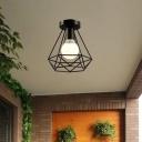 Diamond Shaped Foyer Flushmount Retro Iron 1-Light Black Semi Flush Mount Ceiling Light