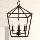 Tapered Square Kitchen Pendant Chandelier Rustic Iron 4-Light Black Hanging Ceiling Light