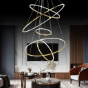 3/5-Layer Hoop Living Room Chandelier Stainless Steel Minimalistic LED Pendant Light in Gold