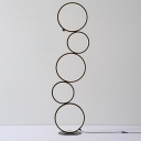 Black Stacked Rings Floor Lamp Contemporary LED Acrylic Standing Floor Light in Warm