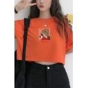 Simple Dinosaur Embroidery Pocket Round Neck Orange Cropped Loose Tee