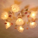 4/7 Heads Ceiling Mount Chandelier Countryside Kitchen Semi Flush Light with Spiral Flower White Glass Shade